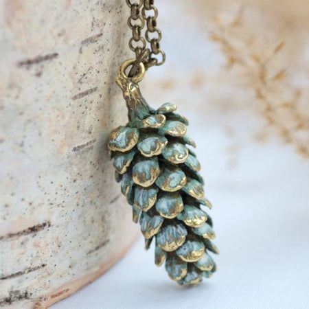 Large Pinecone Necklace by Olive Bella.  Shop now: https://olivebella.com