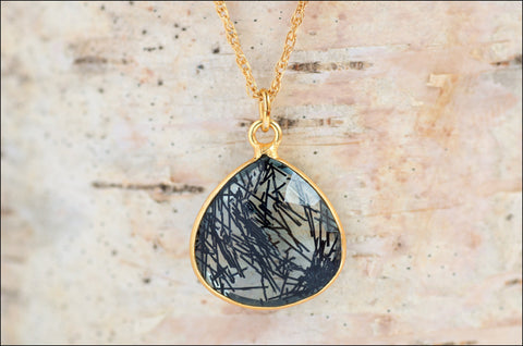 Black Rutile Quartz Gemstone Necklace