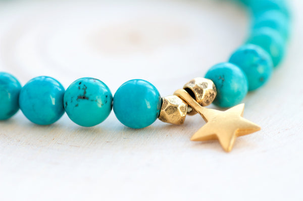 Turquoise Lucky Star Stretch Bracelet