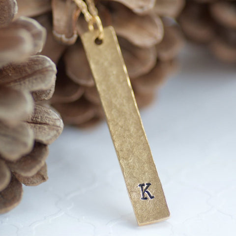 Initial Vertical Gold Bar Necklace