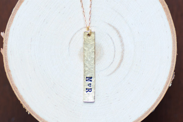 Lovers Initial Gold Bar Necklace