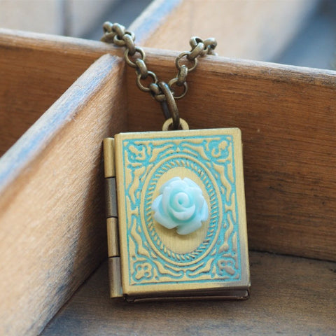 Book Locket Necklace by Olive Bella.  Shop now: https://olivebella.com