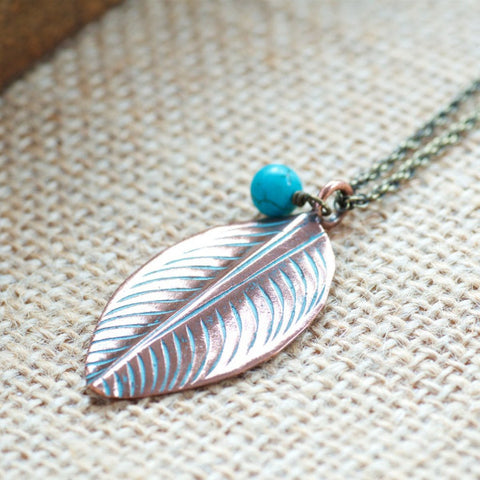 Copper Leaf Necklace by Olive Bella.  Shop now: https://olivebella.com
