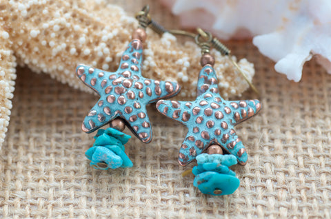 Starfish Earrings Turquoise Earrings
