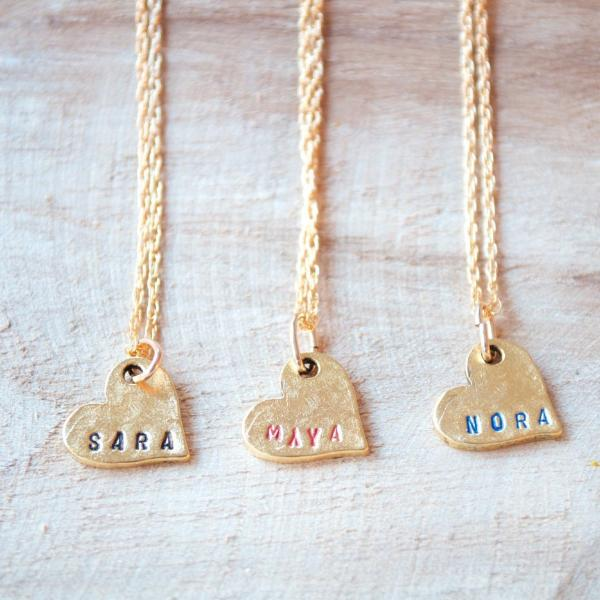 Personalize Name Heart Necklace by Olive Bella.  Shop now: http://olivebella.com