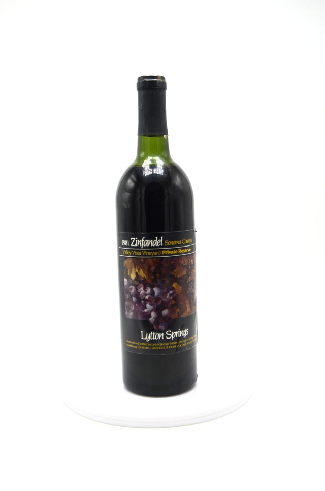 1981 Valley Vista Vineyard Private Reserve Zinfandel, Lytton Springs