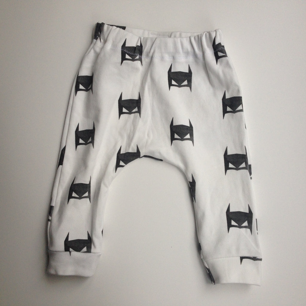 white harem pants with superhero masks