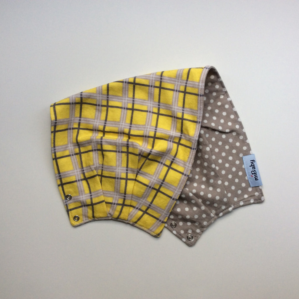 Reversible Scarf Bib - Plaid & Polka Dots
