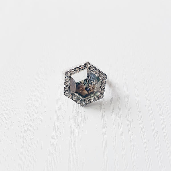 Rhinestone Geometric Ring