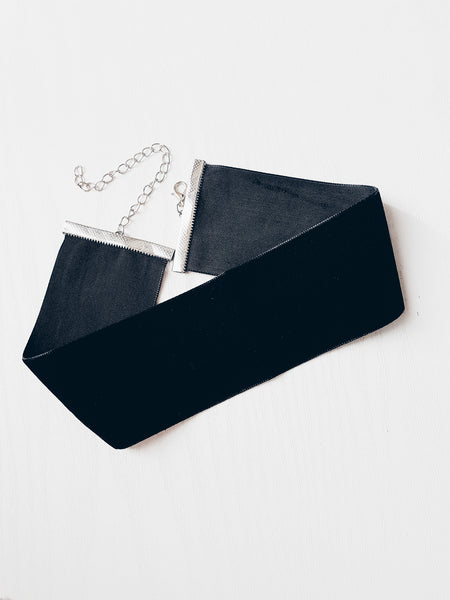 Luxe Wide Black Choker Necklace