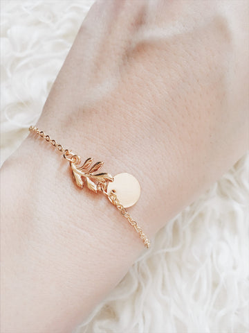 Leaf and Disc Bracelet