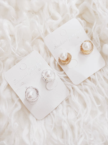 Pearl Sea Shell Earrings