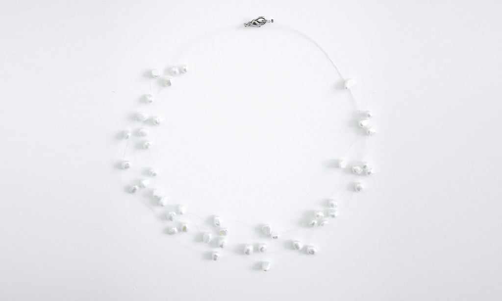 Full-Star - Pure white Freshwater Pearls 3-row Necklace