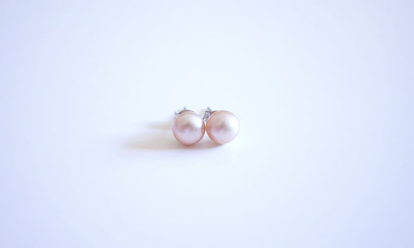 Pink Freshwater Basic Ear-studs