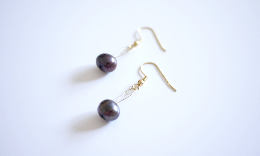 Chocolate Oval Pearl String Earring - a simplistic piece at workplace
