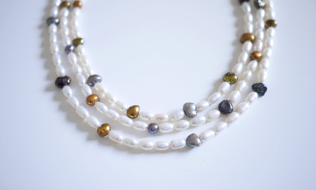 Assorted Rice Pearls Necklace - An Elegant 3-row Rice Pearls Necklace