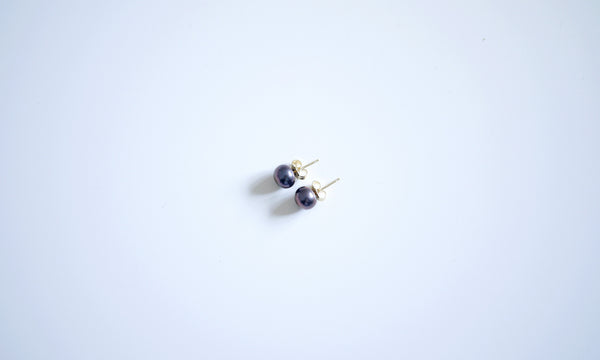 Black Freshwater Pearls Basic Ear-studs