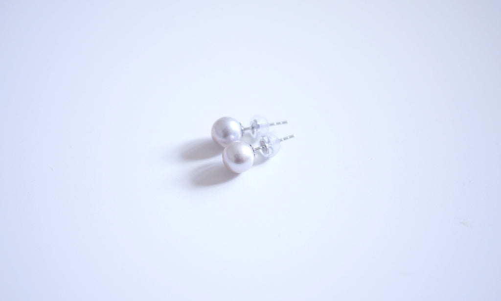 18K/750 White-gold Lavender Pearl Ear-studs - 6.5-7mm