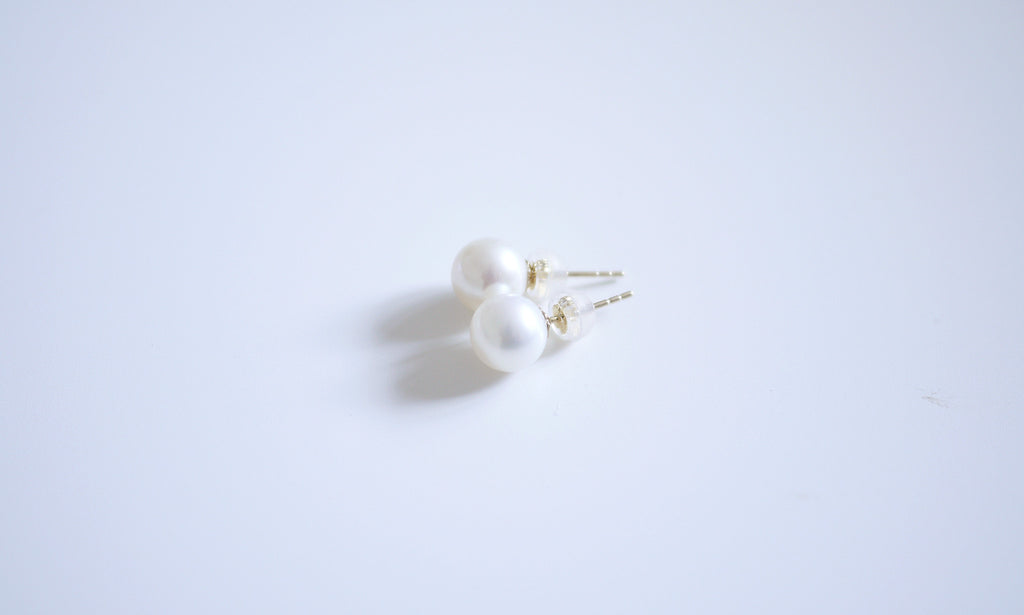 18K/750 Yellow-gold White Pearl Ear-studs - 7.5-8.5mm