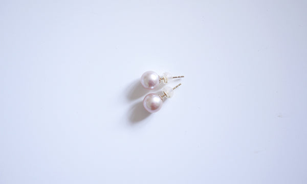 18K/750 Yellow-gold Pink Pearl Ear-studs - 8-9mm