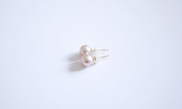 18K/750 Yellow-gold Pink Pearl Ear-studs - 7-7.5mm