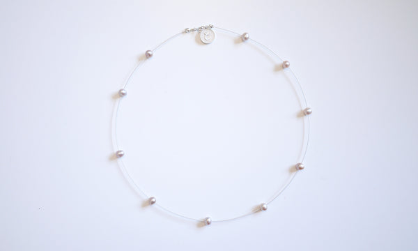 Sterling Silver Equator Pearl Neck-circle – simple & elegant