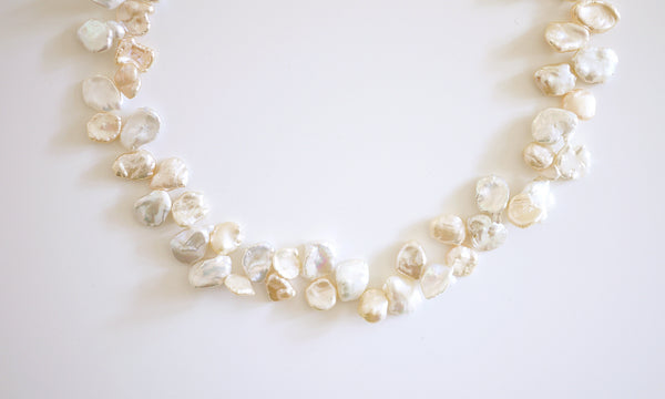 Cream white Leaf Pearl Necklace