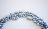 Silver Blue Oval Pearl Necklace – 3 ropes of chic jewellery