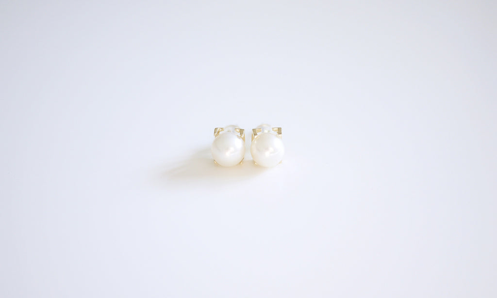 18K Yellow-gold Square Freshwater Pearl Ear-studs