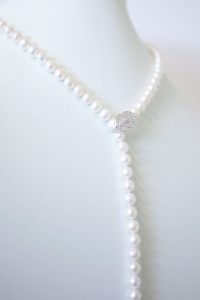 Petit Silver Leaf Buckle Pearl Necklace
