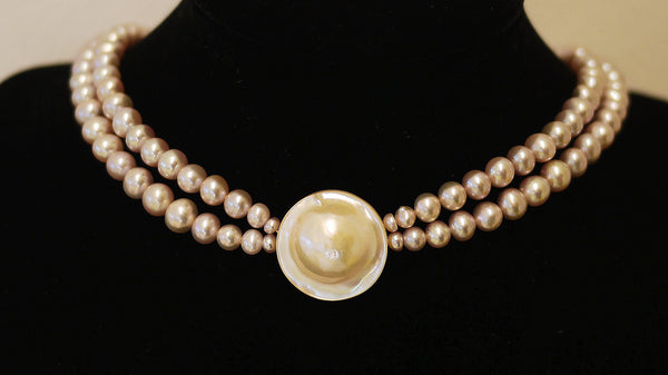 Royal Collection Mabe Pearl Choker Golden Pink 皇家马贝珍珠颈链-金粉紫