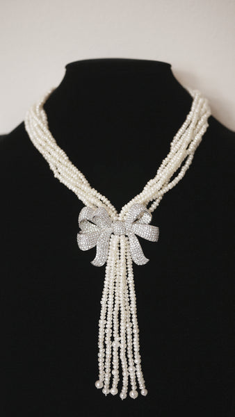 Butterfly-Knot Tassel Pearl Necklace 蝴蝶结流苏款珍珠项链