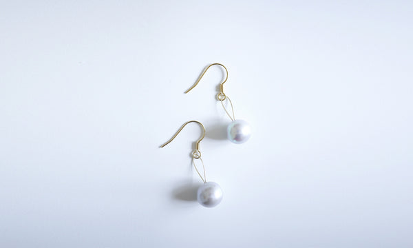 Lavender Pearl Golden Earrings