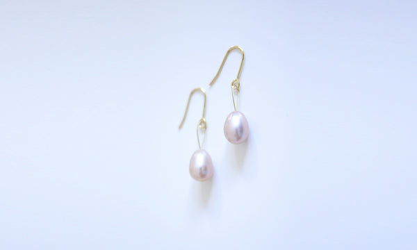 Rosa Pink Water-drop Pearl String Earrings