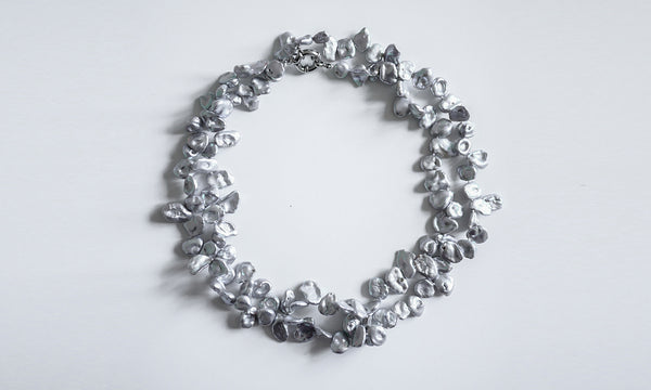 Silver Blue Irregular-shaped Pearls Necklace
