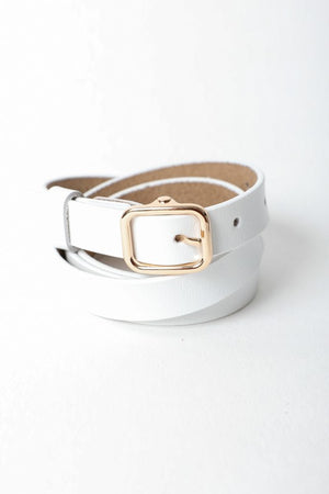 Classic Skinny Leather Fashion Belt- White