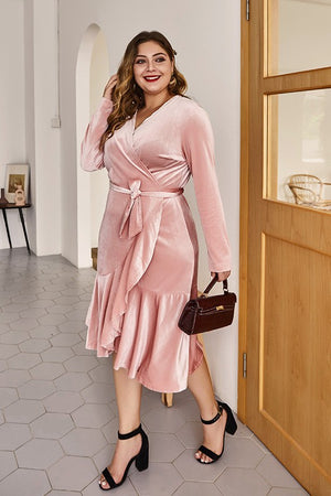 Blush Velvet Wrap Dress -VOLUME