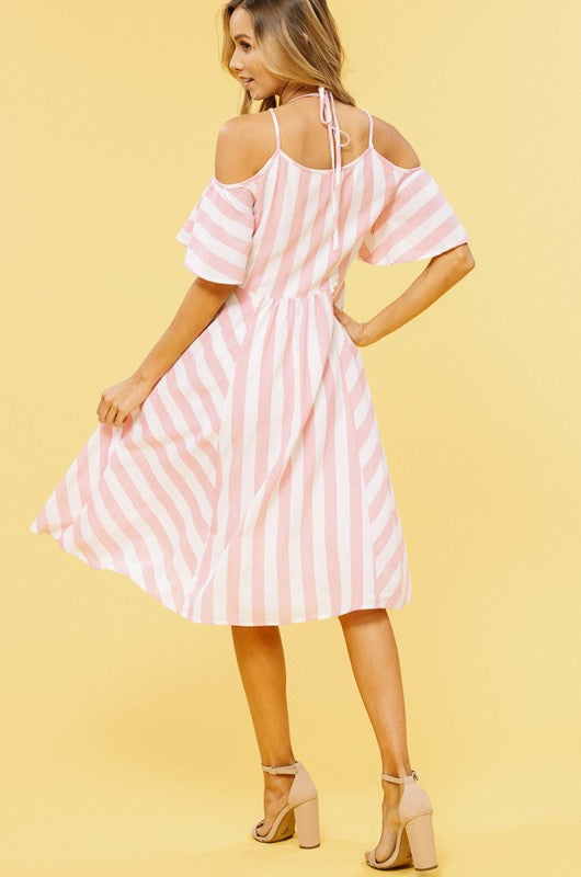 Stripe Cold Shoulder V-Neck Mid Dress