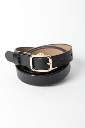 Classic Skinny Leather Fashion Belt- Black