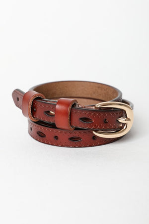 Scallop Skinny Leather Belt- Brown