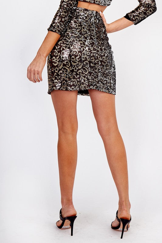 Leopard Sequin Mini Skirt