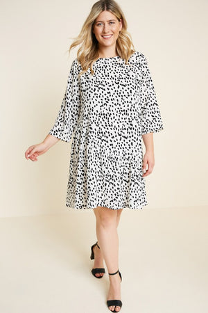 Asymmetrical Dotted Swing Dress - VOLUME