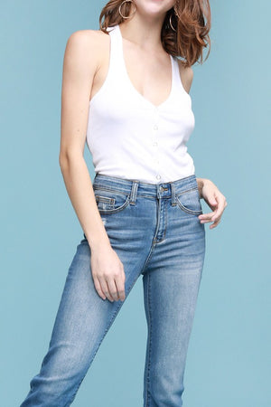 Straight Leg Cuffed Denim - VOLUME