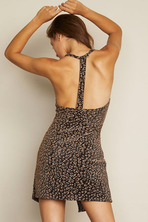 Leopard T-Back Halter Dress