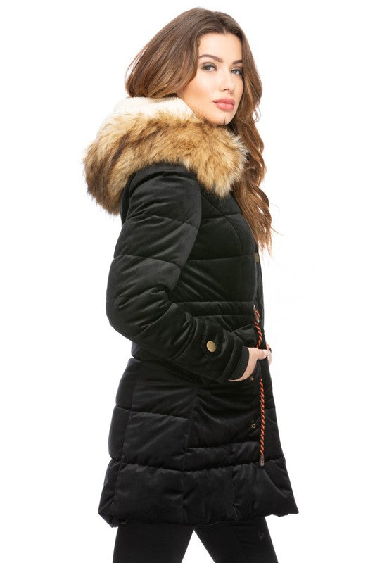 Velvet Check Hooded Coat