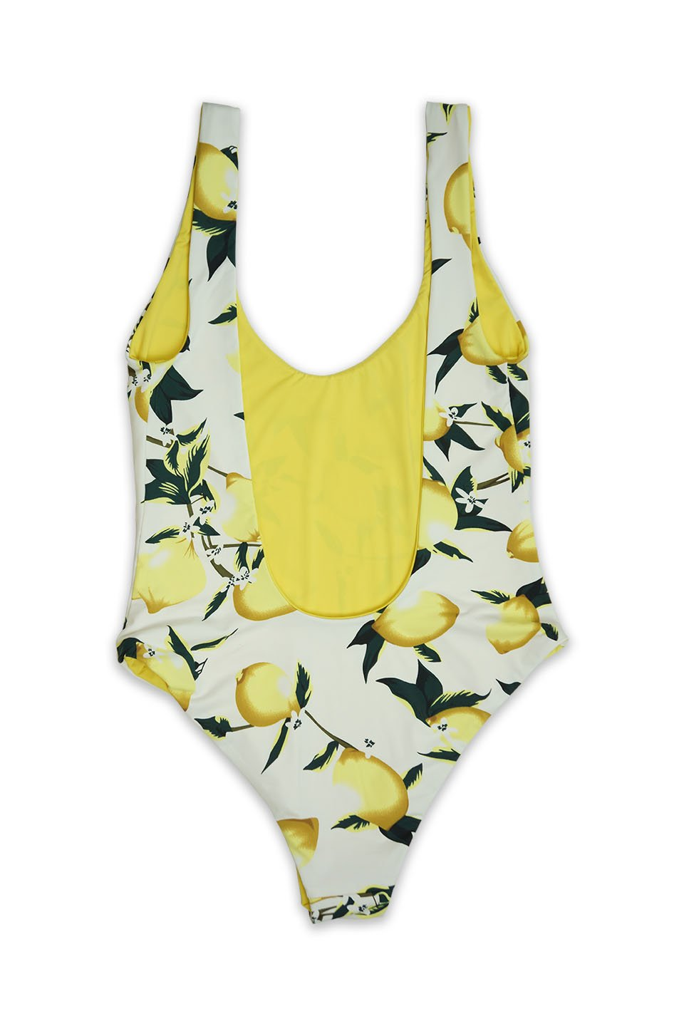 Low Back Moderate Coverage One Piece in Lemon