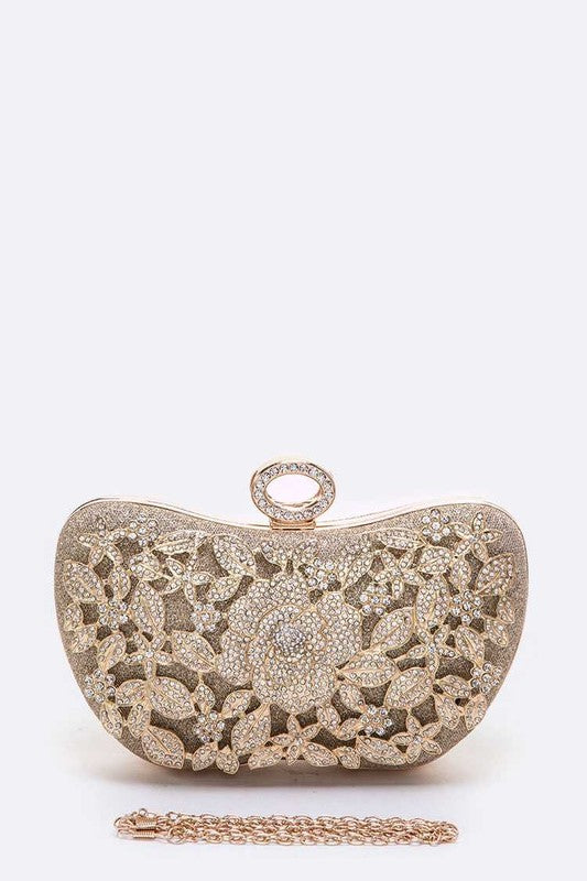 Crystal Flower Statement Box Clutch