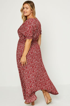 Cranberry Floral Maxi Dress- VOLUME