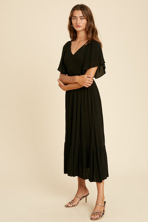 Cindi Flutter Sleeve Midi Dress Black