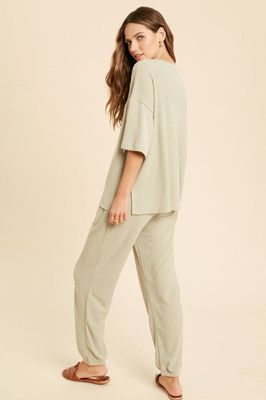 Olive Ribbed Casual Pants Set